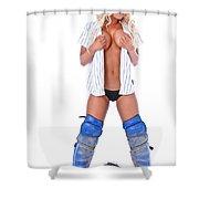 Baseball Girl Shower Curtain