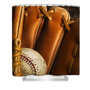 Baseball Glove And Baseball Shower Curtain by Chris Knorr