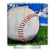 Baseball In The Grass Shower Curtain