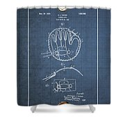 Baseball Mitt By Archibald J. Turner - Vintage Patent Blueprint Shower Curtain