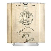 Baseball Mitt By Archibald J. Turner - Vintage Patent Document Shower Curtain