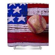 Baseball On American Flag Shower Curtain