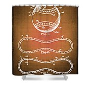 Baseball Patent Blueprint Drawing Sepia Shower Curtain
