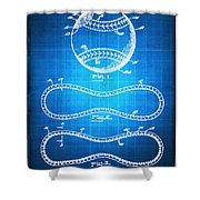 Baseball Patent Blueprint Drawing Shower Curtain