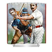 Baseball Player At Bat Shower Curtain by Unknown