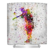 Baseball Player - Taking A Swing Shower Curtain