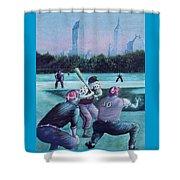 New York Central Park Baseball - Watercolor Art Shower Curtain