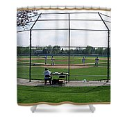 Baseball Playing Hard 3 Panel Composite 01 Shower Curtain