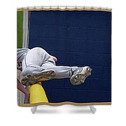 Baseball Playing Hard 3 Panel Composite 02 Shower Curtain