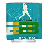 Baseball Poster Shower Curtain