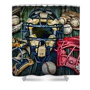 Baseball Vintage Gear Shower Curtain