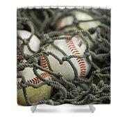 Baseballs And Net Shower Curtain