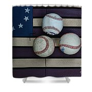 Baseballs On American Flag Folkart Shower Curtain