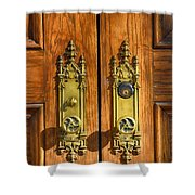 Basilica Door Knobs Shower Curtain
