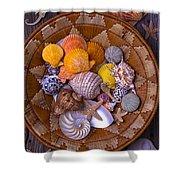 Basket Full Of Seashells Shower Curtain