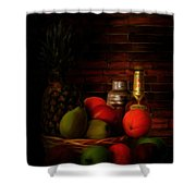 Basket Of Colors Shower Curtain by Lourry Legarde