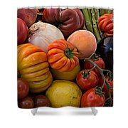 Basket Of Fruits And Vegetables Shower Curtain