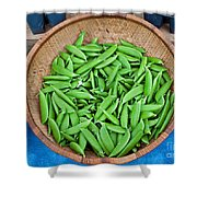 Basket Of Organic Fresh Sugar Snap Peas Art Prints Shower Curtain