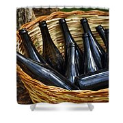 Basket With Bottles Shower Curtain by Carlos Caetano