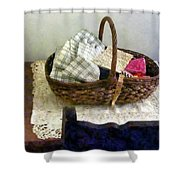 Basket With Cloth And Measuring Tape Shower Curtain
