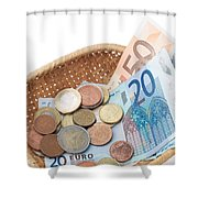 Basket With Coins And Banknotes Shower Curtain