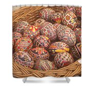 Basket With Easter Eggs Shower Curtain