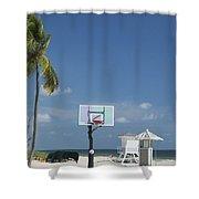 Basketball Goal On The Beach Shower Curtain