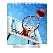 Basketball Hoop And Ball 1 Shower Curtain by Lanjee Chee