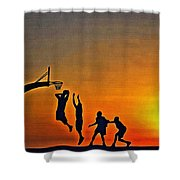 Basketball Sunrise Shower Curtain