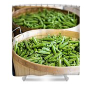 Baskets Of Fresh Picked Peas Shower Curtain by Edward Fielding