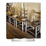 Baskets On Ladder Back Chairs Shower Curtain by Lynn Palmer