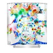 Basquiat Jean Michel Watercolor Portrait Shower Curtain