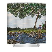 Bass Fishing In The Stumps Shower Curtain