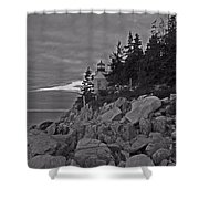 Bass Harbor Black And White   Shower Curtain