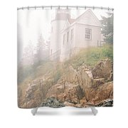 Bass Harbor In Fog - Vertical Shower Curtain