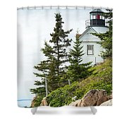 Bass Harbor Light Station Overlooking The Bay Shower Curtain