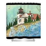 Bass Harbor Lighthouse Me Nautical Chart Map Art Cathy Peek Shower Curtain