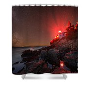 Bass Harbor Lighthouse Milky Way Shower Curtain