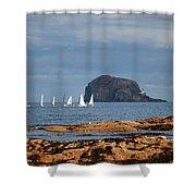 Bass Rock And Sail Boats Shower Curtain