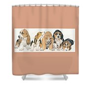 Basset Hound Puppies Shower Curtain by Barbara Keith