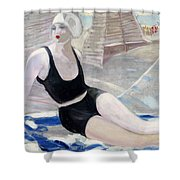 Bather In A Black Swimsuit Shower Curtain