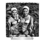 Bathing Beauties Black And White Shower Curtain