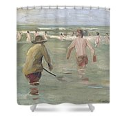 Bathing Boys With Crab Fisherman Shower Curtain