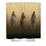 Bathing In The Holy River By Dominique Amendola Shower Curtain