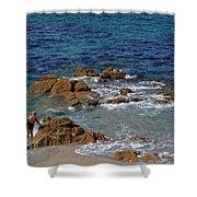 Bathing In The Sea - La Coruna Shower Curtain