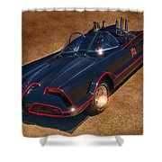 Batmobile Shower Curtain by Tommy Anderson