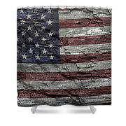 Battered Old Glory Shower Curtain