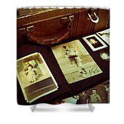 Battered Suitcase Of Antique Photographs Shower Curtain