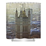 Battersea Power Station And Victoria Tower London Shower Curtain