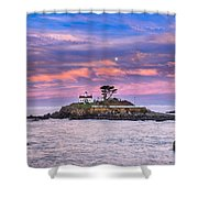 Battery Point Lighthouse And Moon Shower Curtain